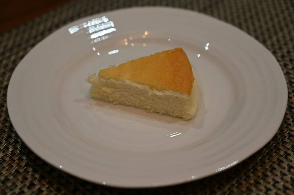 Costco Delcato Japanese Style Cheesecake piece served on a plate