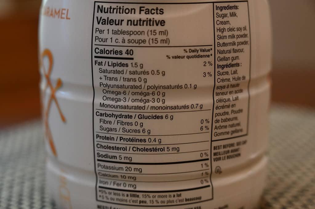 Costco Starbucks Caramel Macchiato Coffee Enhancer Nutrition Information