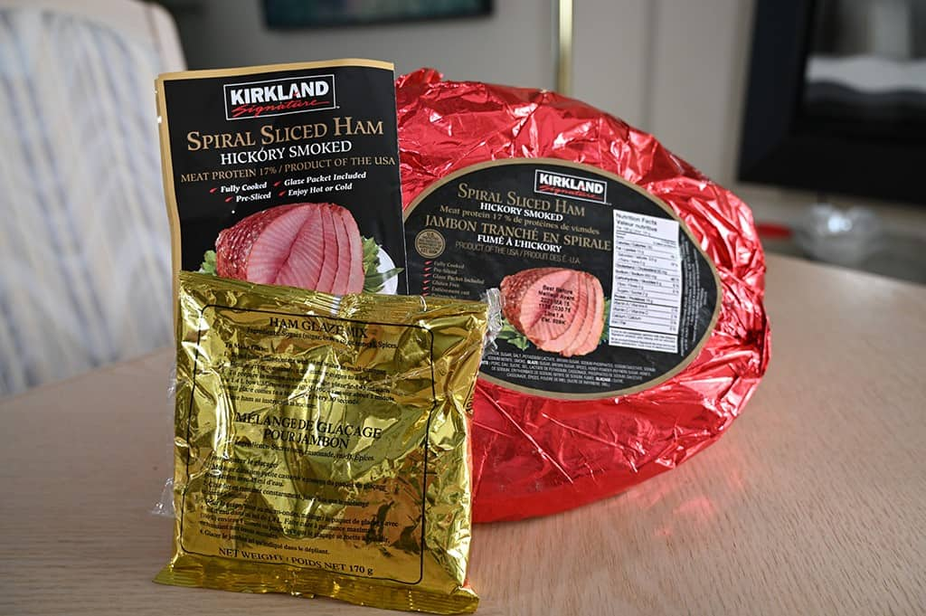 The Costco Kirkland Signature Spiral Sliced Ham, glaze packet and instruction booklet.