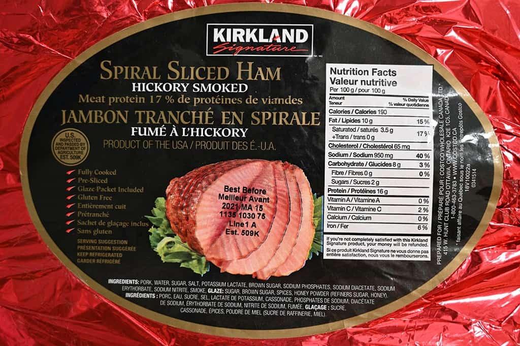 The ingredients list for the Kirkland Signature Spiral Sliced Ham.