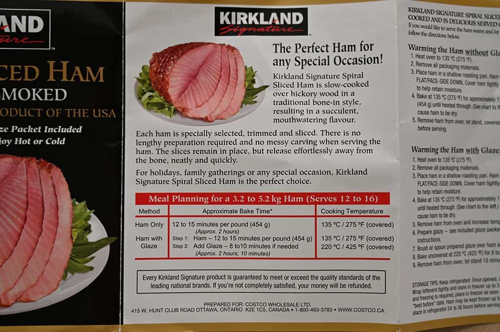 Cooking instructions for the Kirkland Signature Spiral Sliced Ham.