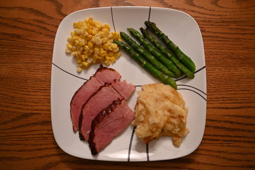 The Costco Kirkland Signature Spiral Sliced Ham plated for Easter dinner.
