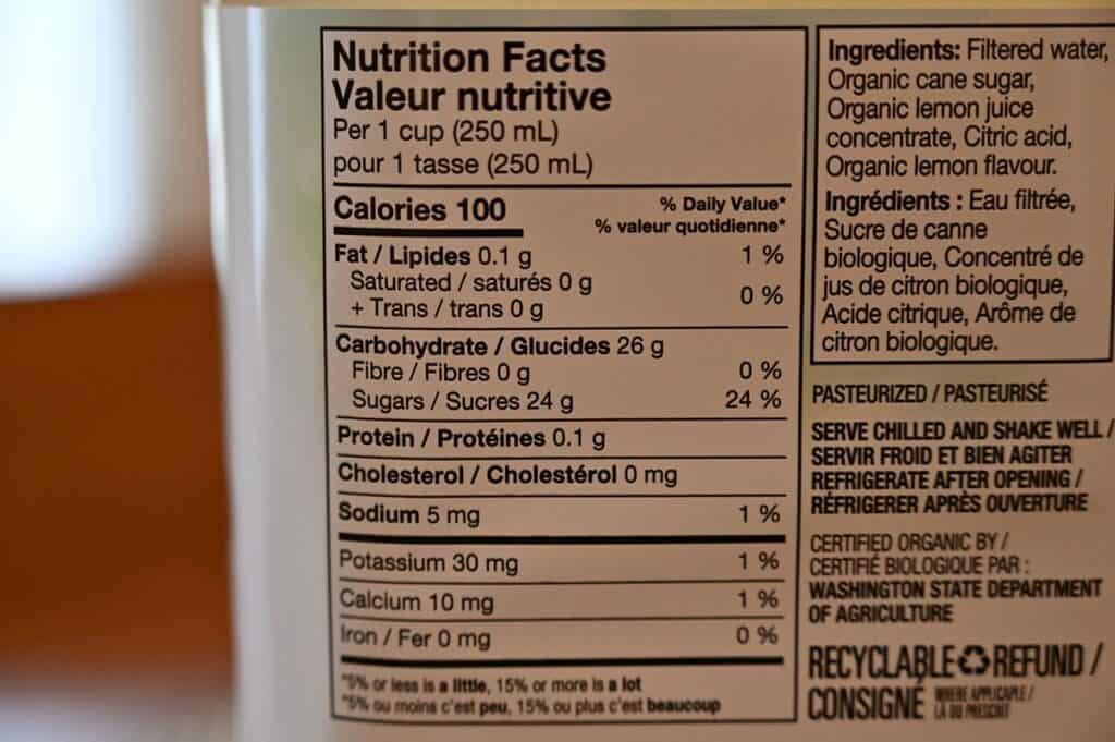 Costco Kirkland Signature Lemonade Nutrition Facts