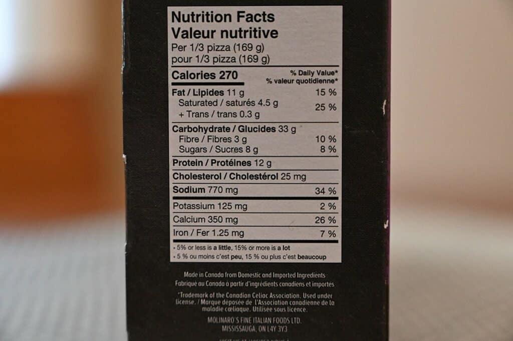 Costco Molinaro's Gluten-Free Cauliflower Crust Frozen Pizza Nutrition Facts