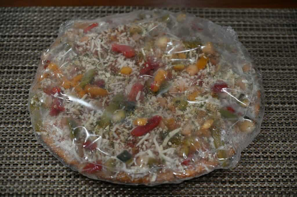 Costco Molinaro's Gluten-Free Roasted Vegetable Cauliflower Crust Frozen Pizza in plastic packaging
