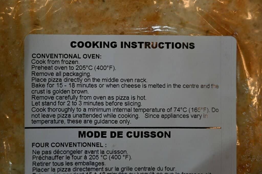 Costco Molinaro's Gluten-Free Roasted Vegetable Cauliflower Crust Frozen Pizza cooking instructions