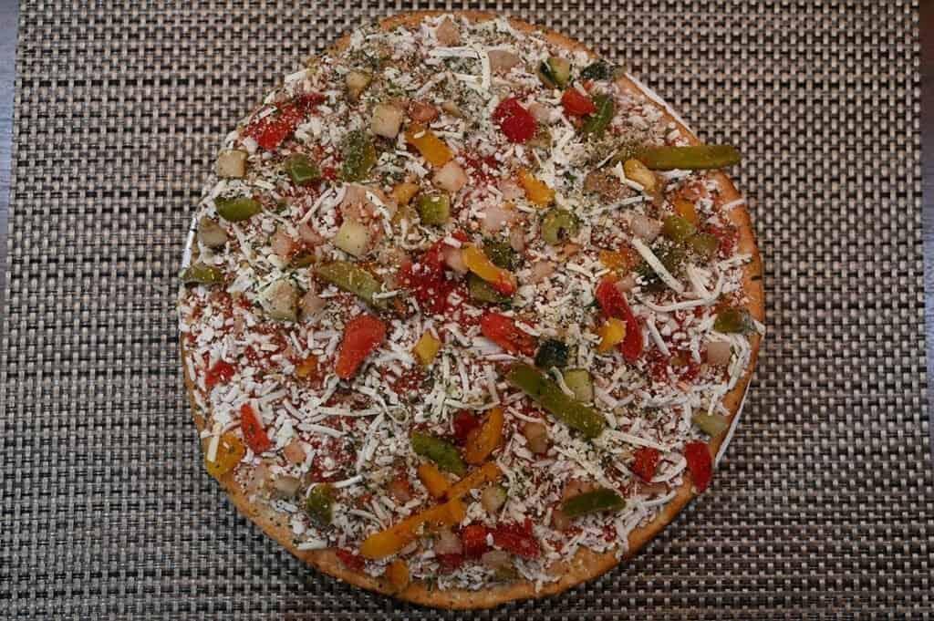Costco Molinaro's Gluten-Free Roasted Vegetable Cauliflower Crust Frozen Pizza before baking