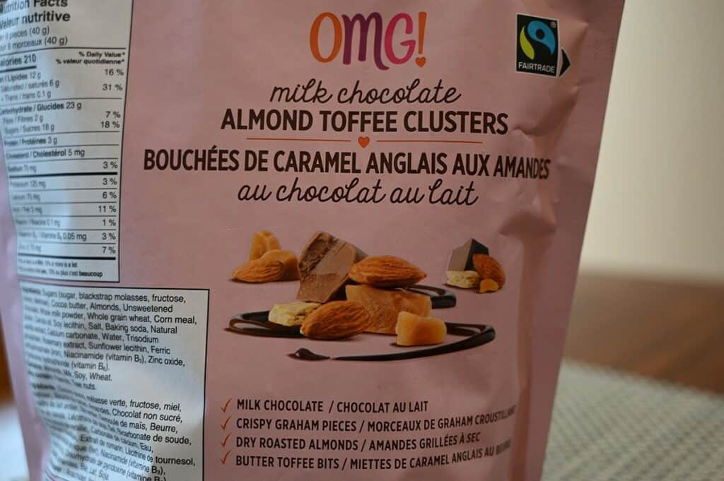 Costco OMG! Milk Chocolate Almond Toffee Clusters bag with product description on the back