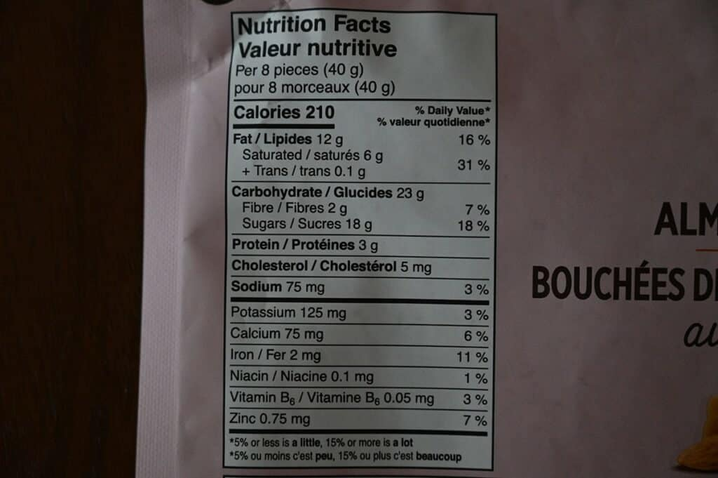 Costco OMG! Milk Chocolate Almond Toffee Clusters Nutrition Facts