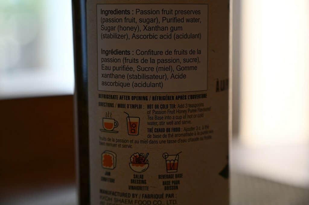 Costco Vonbee Passion Fruit Honey Puree Ingredients label