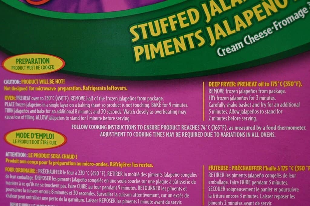 Costco The Original Poppers Stuffed Jalapenos cooking directions