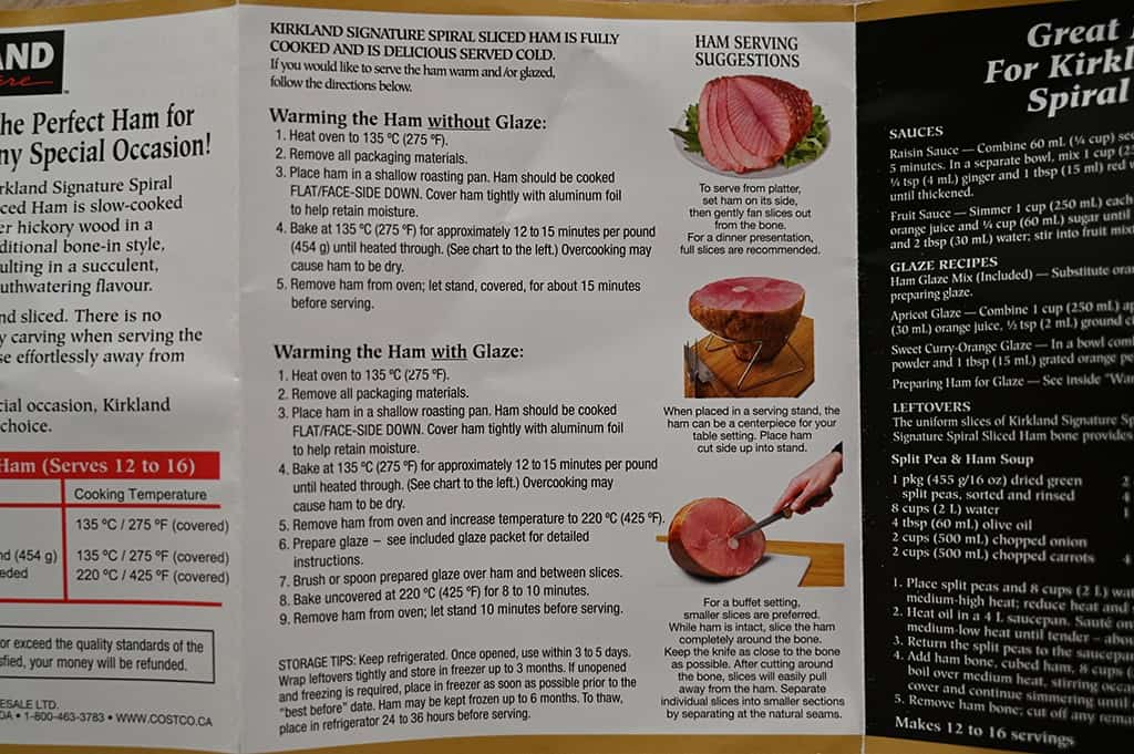 Additional cooking instructions for the Kirkland Signature Spiral Sliced Ham.