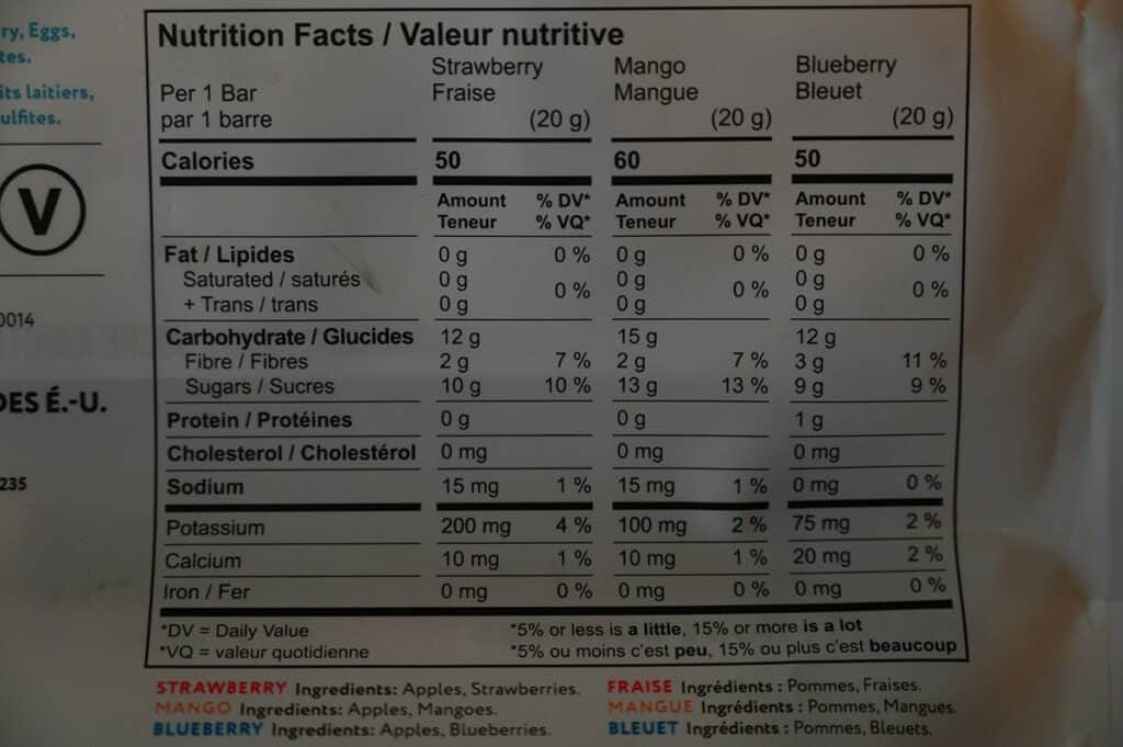 Costco That's It Mini Fruit Bars Nutrition Facts