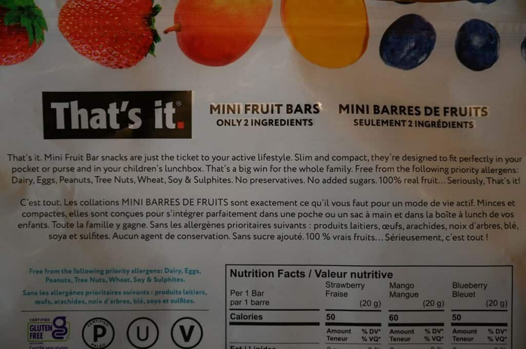 Costco That's It Mini Fruit Bars description on back of bag