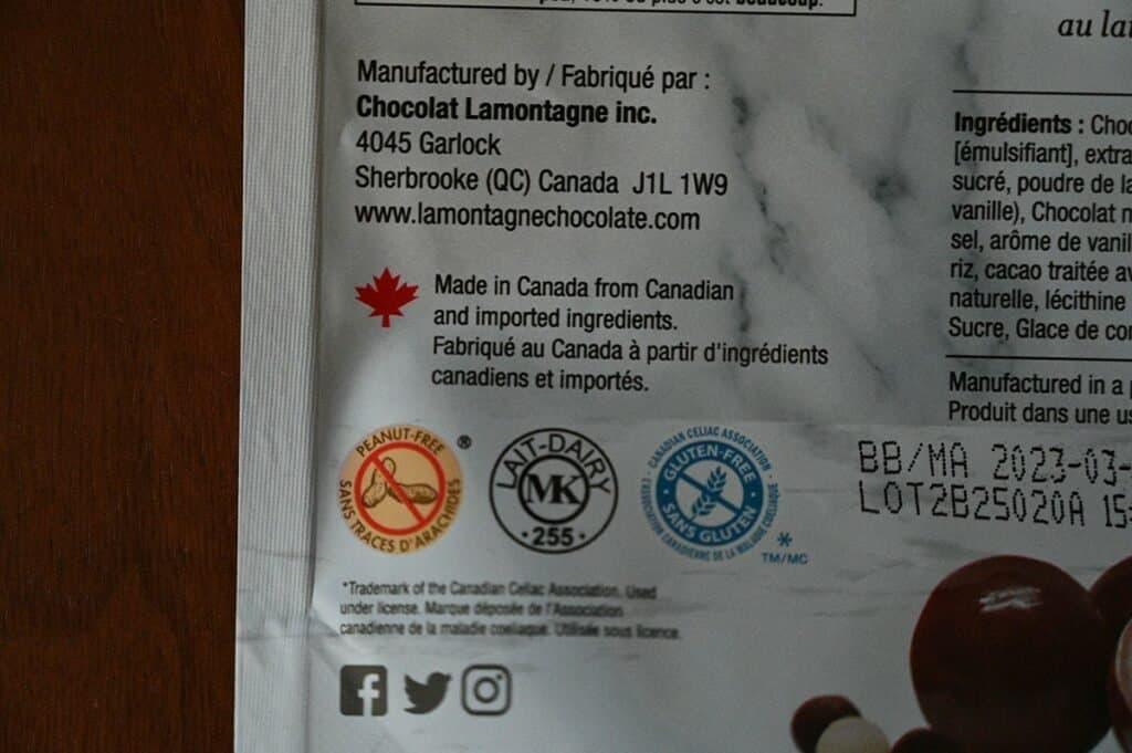 Costco Lamontagne Tuxedo Cake Bites peanut free gluten free logo on bag