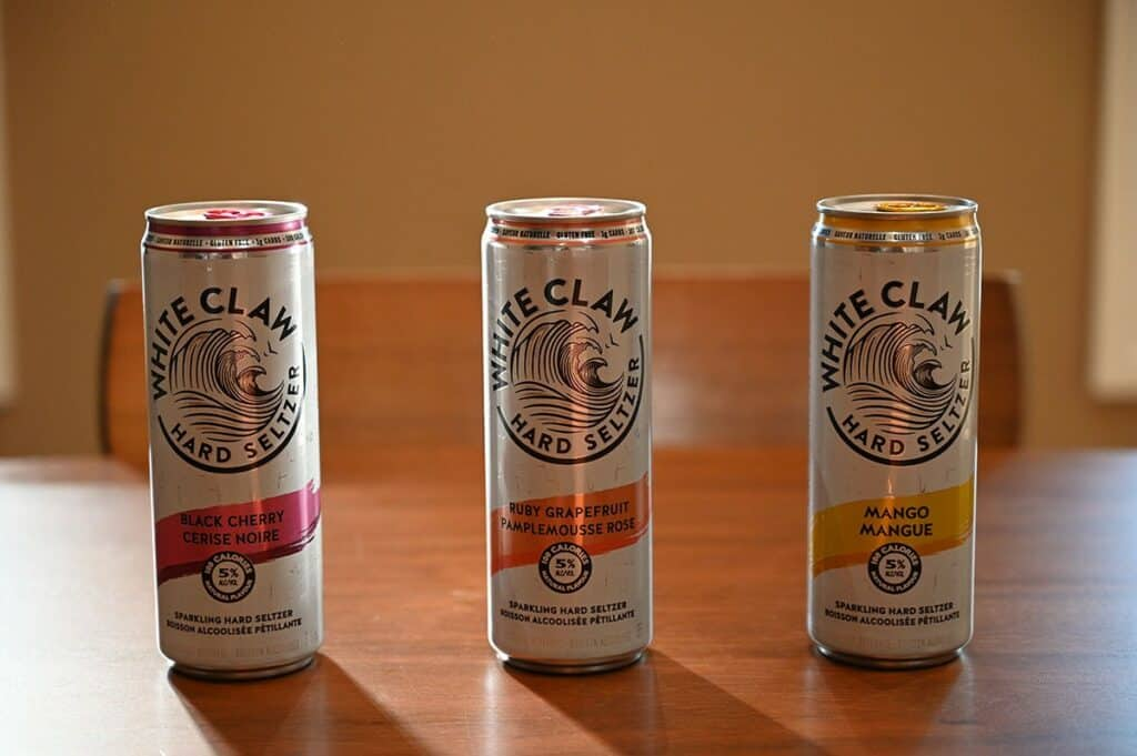 Costco White Claw Hard Seltzer black cherry, ruby grapefruit and mango cans
