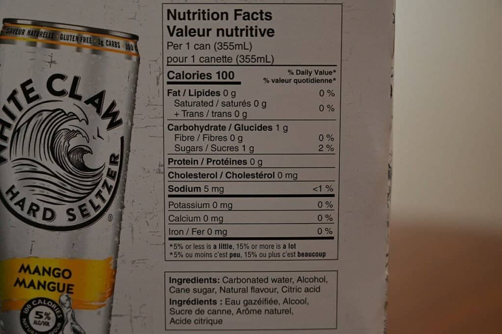 Costco White Claw Hard Seltzer Nutrition Facts and Ingredients