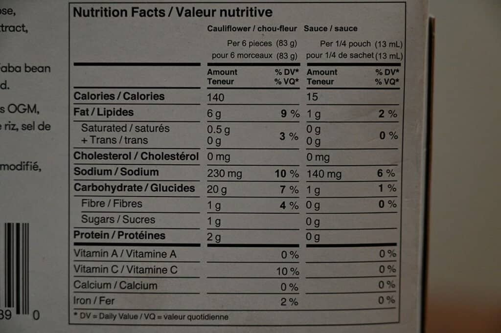 Costco Wholly Veggie Buffalo Cauliflower Nutrition Facts