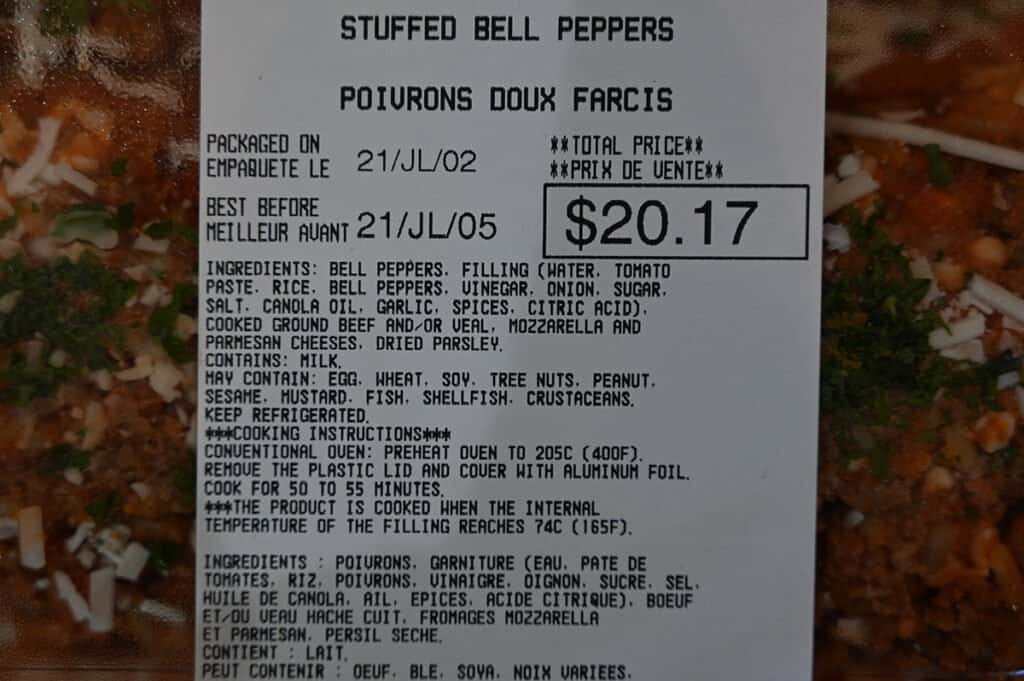 The ingredients list and cooking instructions for the Kirkland Signature Stuffed Bell Peppers.