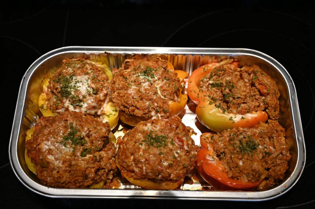 The tray of Stuffed Bell Peppers after they've been cooked.
