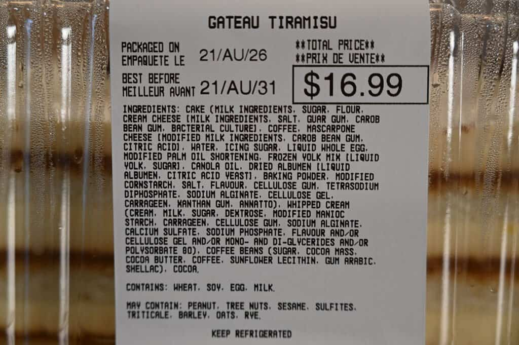 The ingredients list for the Tiramisu Cake from Costco.