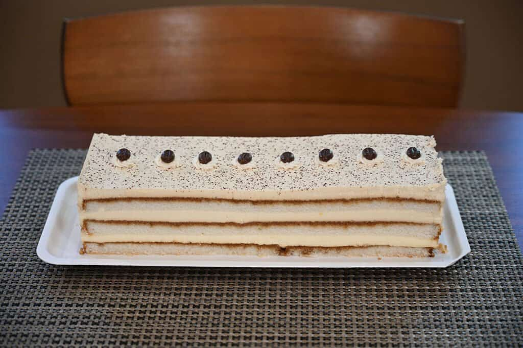 The Tiramisu Cake with the plastic cover removed.