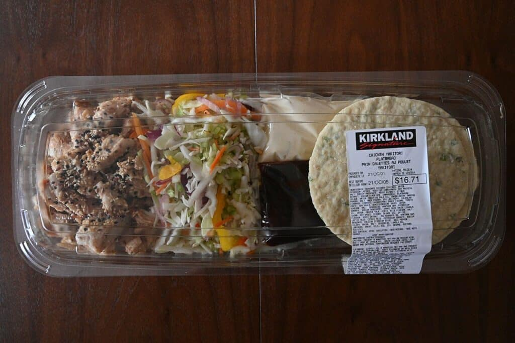 Costco Chicken Yakitori Flatbread packaging and contents of meal