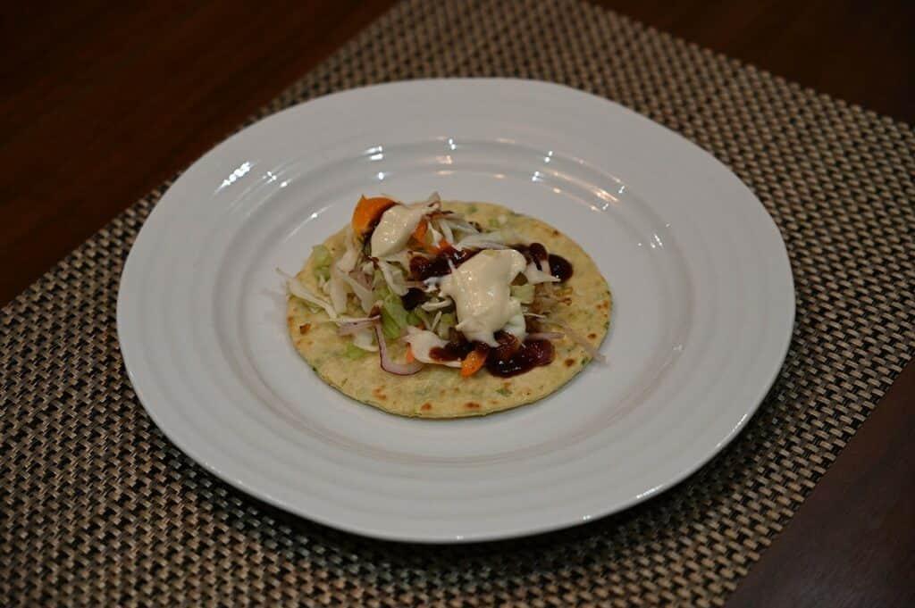 Costco Chicken Yakitori Flatbread prepared and on a plate
