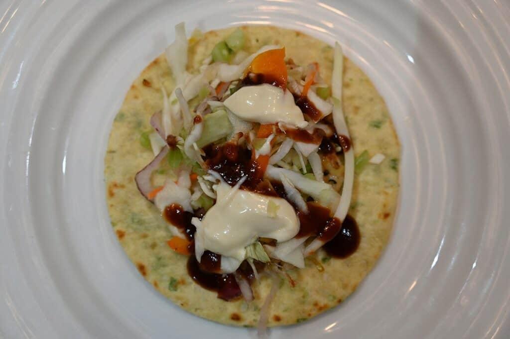 Costco Chicken Yakitori Flatbread prepared and on a plate closeup