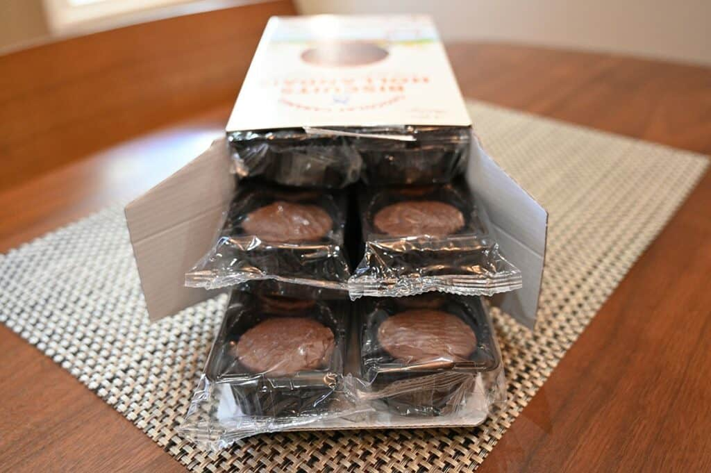 Costco Le Chic Patissier Chocolate Caramel Dutch Cookies showing box of cookies open with packages of cookies inside