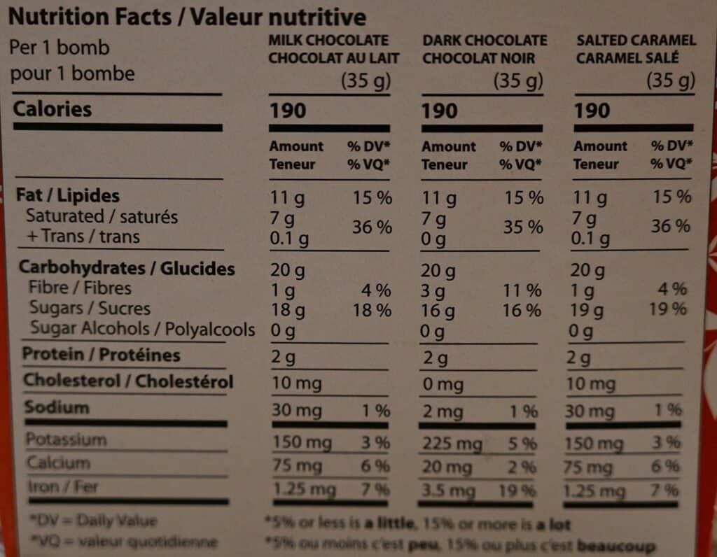 Costco Deavas Hot Chocolate Bombs Nutrition Facts