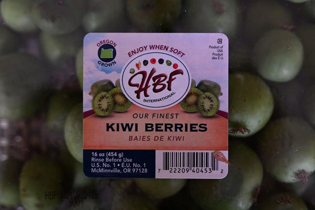 Costco HBF Kiwi Berries label on plastic container they come in