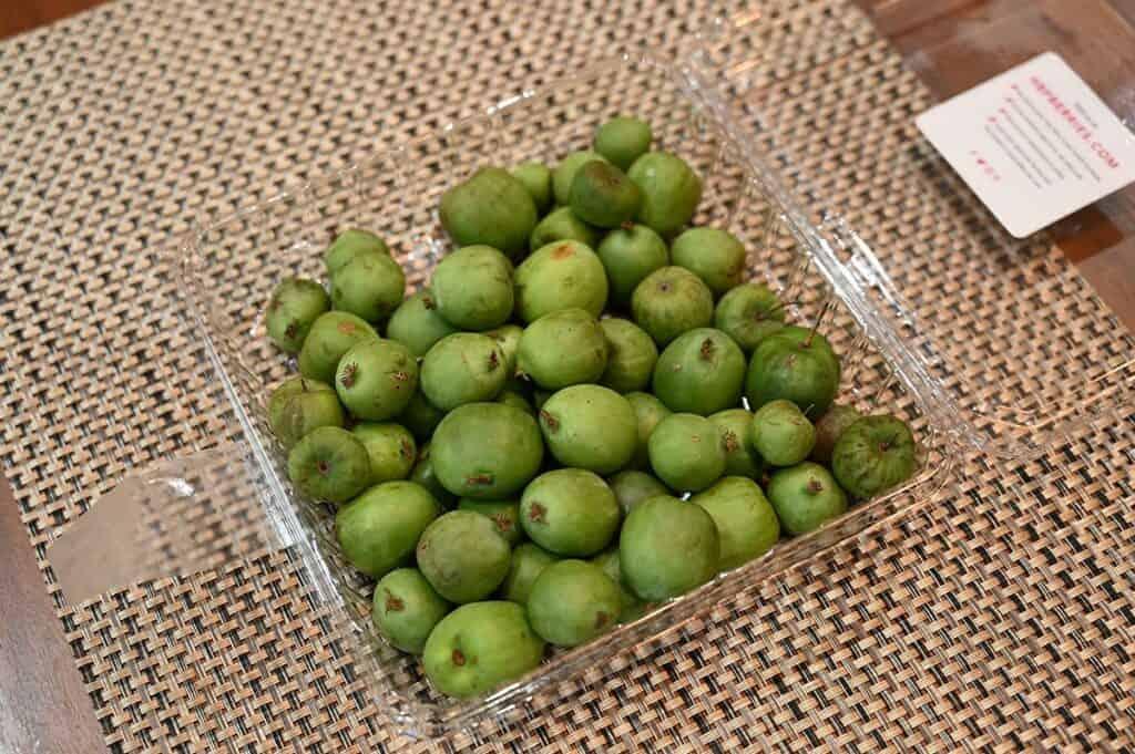Costco HBF Kiwi Berries package opened with kiwi berries shown