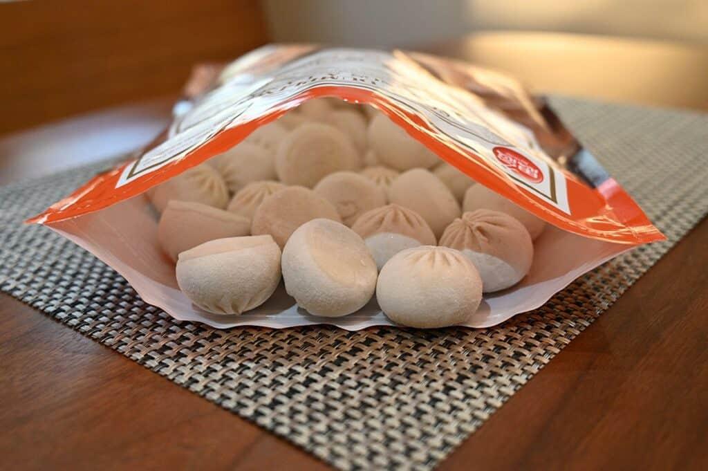 Costco Synear Soup Dumplings open bag with dumplings in it