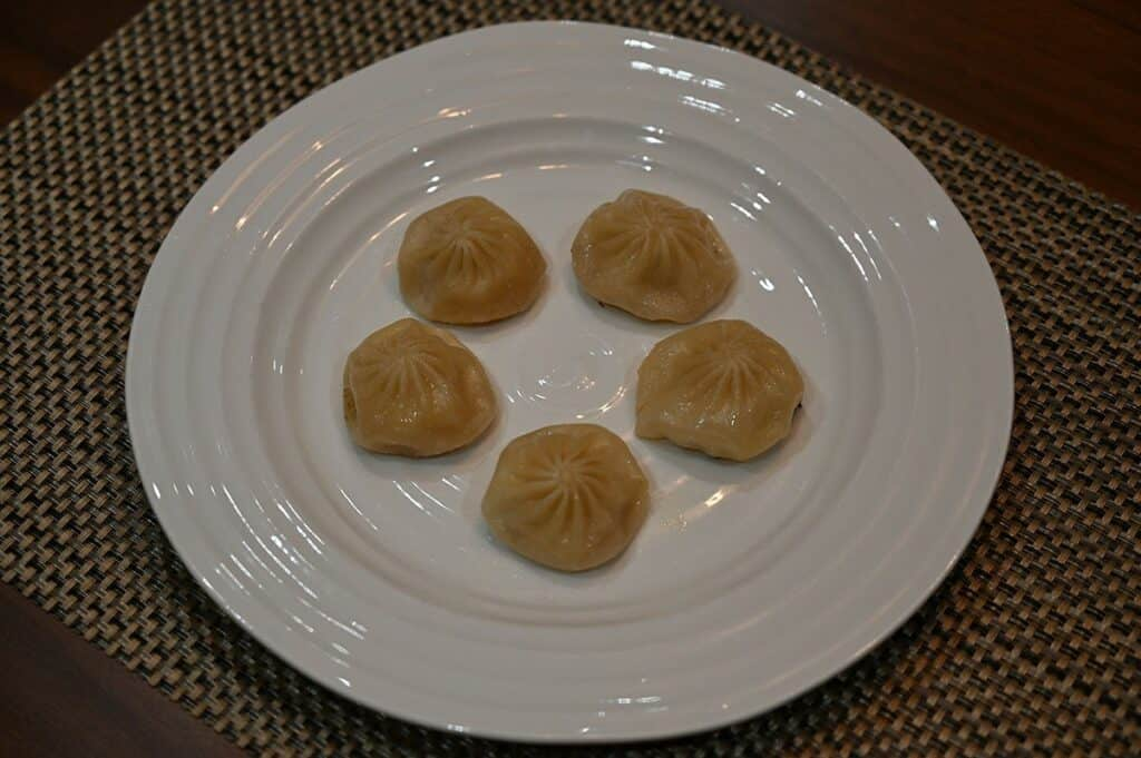 Costco Synear Soup Dumplings cooked and on a plate