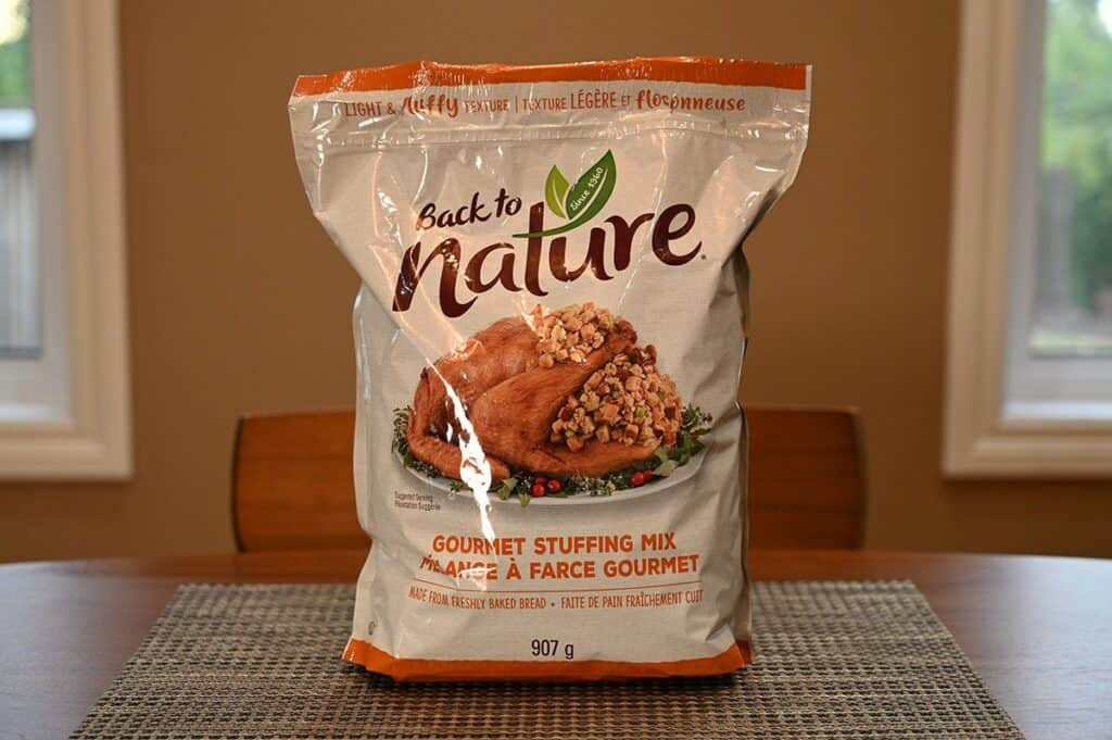 Costco Back to Nature Gourmet Stuffing Mix bag sitting on table