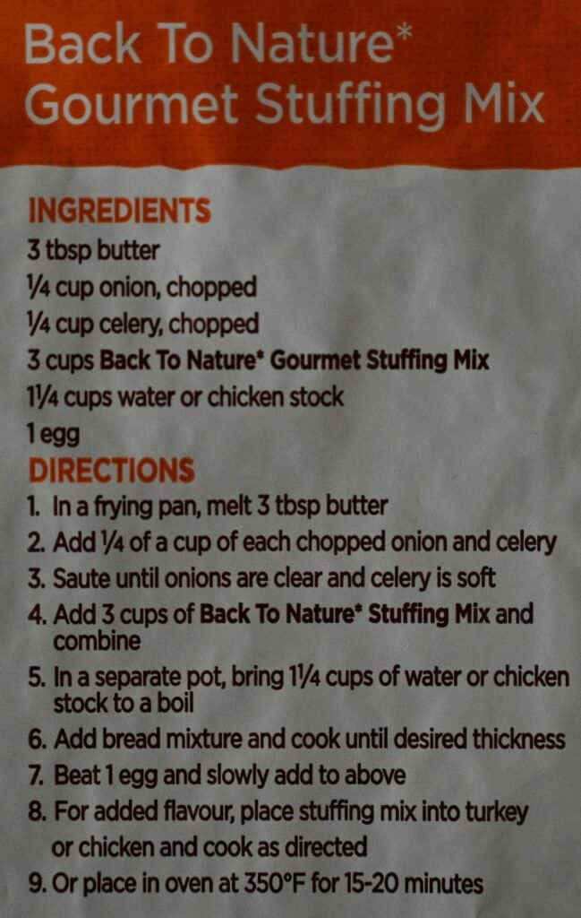 Costco Back to Nature Gourmet Stuffing Mix Cooking Instructions